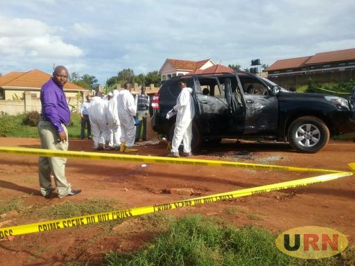 Kaweesi's official car registration number UP 4778 at the scene of crime near his home in Kulambiro.