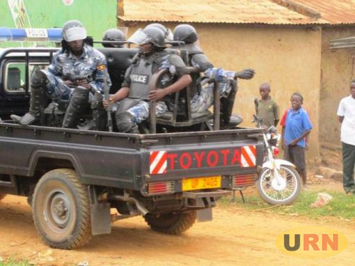 Anti riot police officers in Bukomansimbi. The recovered blood-stained police uniform was similar to those being worn by those on a police patrol