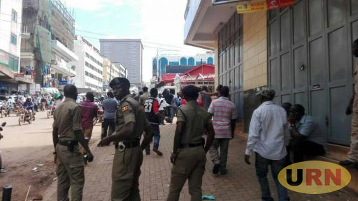 Security personnel take guard as traders protest in Kampala