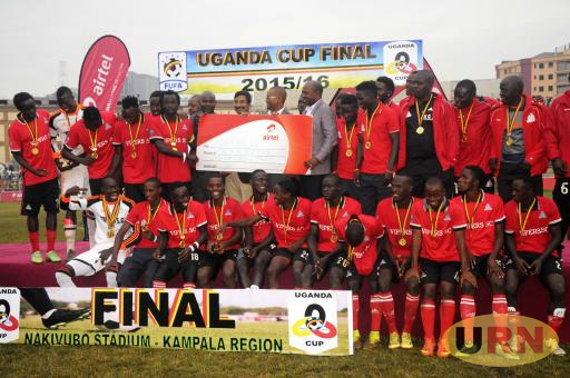 Vipers Sc celebrate with the Uganda Cup trophy last year.