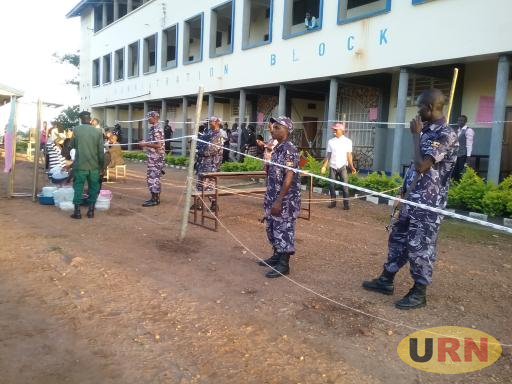 Anti riot police guarding polling station during decralation of Muteesa Royal University guild results