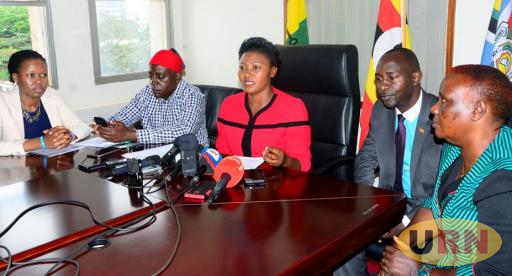 Leader of Opposition Winnie Kiiza with other MPs addressing journalists at parliament.