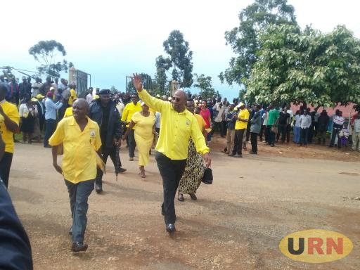 Rugunda waving to the people in Kanungu on Thursday