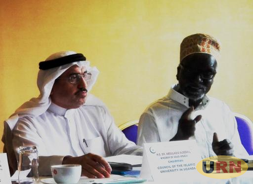 IUIU's Chairperson of Council HE Dr. Abdul-Aziz Alsabail and his Deputy Hajji Ali Kirunda Kivejinja, the third Deputy Prime Minister and Minister for East African Affairs.