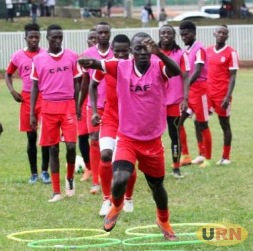 Uganda Cranes team training on Sunday in Kakamega.