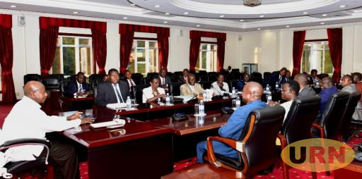 President Yoweri Museveni interfacing with MPs sitting on the Legal and Parliamentary Affairs Committee.