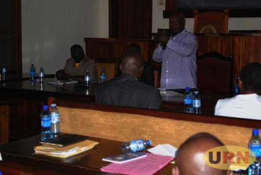 Fred Kamugira, the Deputy Director of the Manifesto Implementation Unit, in one the assessment sessions with Masaka leaders