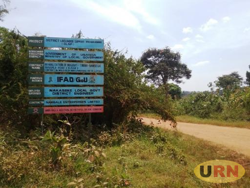 A signpost along Mugenyi-Timuna-Nambegga -Buggala road which was last worked on in 2010 but now in bad state.