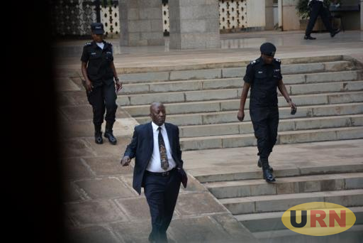 Sergeant At Arms Ahmed Kagoye moving with Counter terrorism (CT) police officers in the Parliament Building.