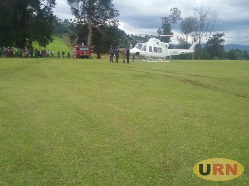 A helicopter after an emergency landing