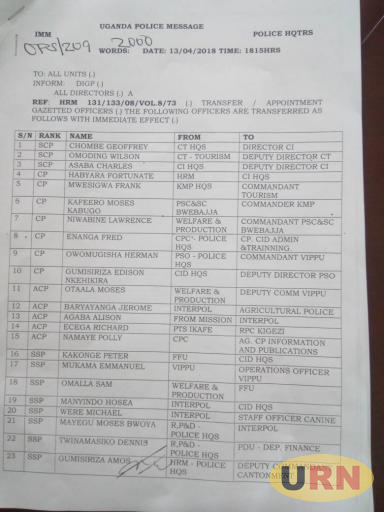 First page of the four paged transfer and appointment of 96 senior officers