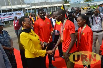 First Lady and Minister of Education and Sports, Janet Kataaha Museveni welcomes the team last Thursday from Australia.