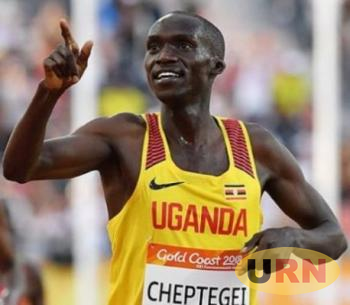 Joshua Kiprui Cheptegei celebrates during the 2018 Gold Coast Commonwealth Games.