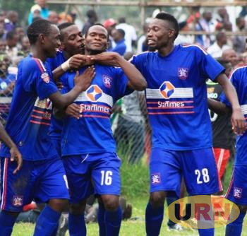 SC Villa players celebrate a goal during a previous match.