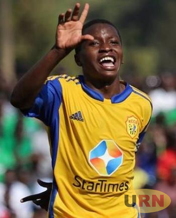 Allan Okwllo celebrates a goal for KCCA FC. he netted one of the goals of Lango Pronvince.
