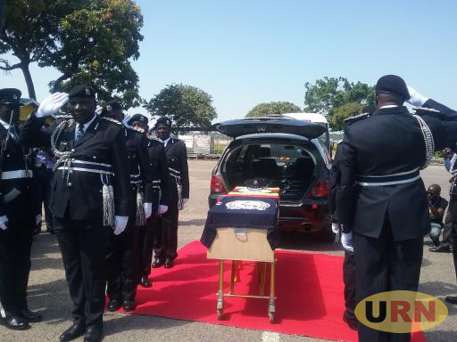 Commissioners of Police pay respect to the body of fallen officer Okello Makmot