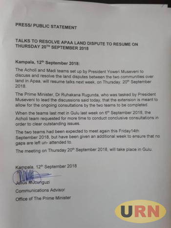 A press statement issued by Julius Mucunguzi, the OPM Communications Advisor