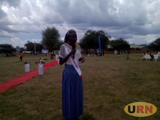 Emily Ayen, Miss Tourism Karamoja speaking during Pokot Culture Day in Looro, Amudat district on Friday.