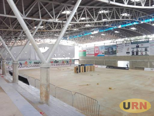 Inside the Mak Arena, an indoor facility that last week hosted the World University netball games. The carpet has been packed up to aid construction works resume.