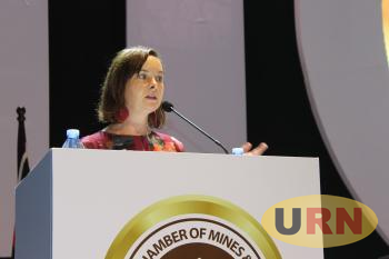 Dr Jennifer Hinton addressing the just concluded Mineral Wealth Conference by Uganda Chamber of Mines and Petroleum anda Chamber of Mines and Petroluem .JP