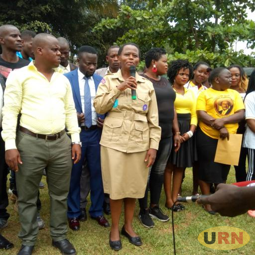 State House comptroller, Lucy Nakyobe addressing Kampala NRM youth at Biyem Hotel, Mengo today
