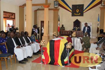 Busoga Lukiiko pays tribute to late Cyprian Bamwoze at the kingdom headquarters on Saturday.