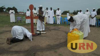 Severino Lukoya Leading Prayers during the Cruusade in Kitgum on Saturday